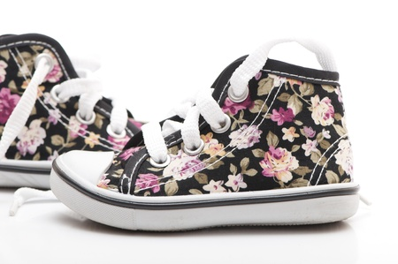 flower sneakers on white background photo