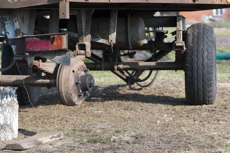 destroyed trailer without wheel   photo