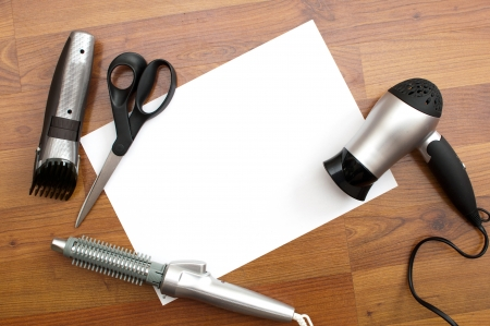 background,white card and barber tools photo