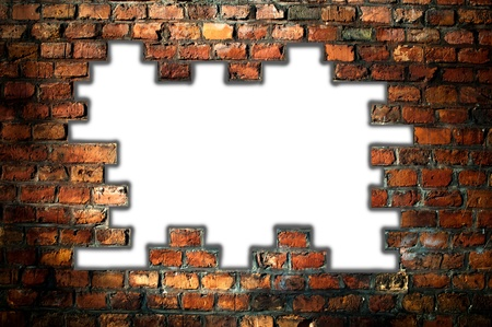 hole in an old brick wall - background photo