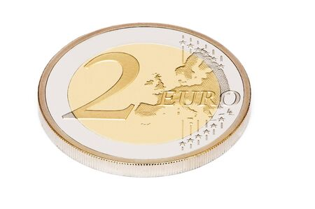 two euro on white background photo