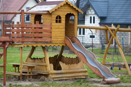 playground - house, slide and ladder Stock Photo - 16703528