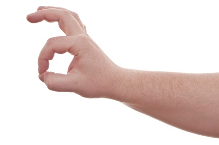 endorsement: hand on white background - perfect  Stock Photo