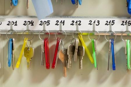 many keys hanging on hooks Standard-Bild