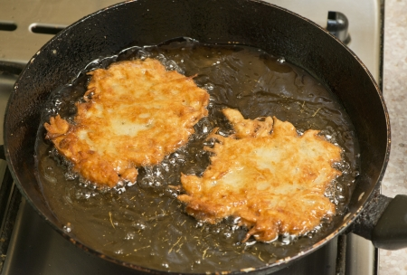 sizzle: two pancakes on the frying pan