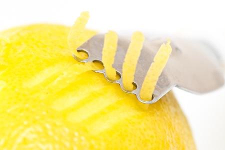 lemon peel on white background Stock Photo
