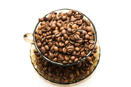 winnower: coffee beans in brown cup on white background