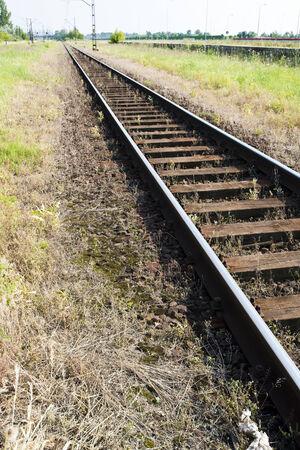 sleepers: railway track with wooden sleepers