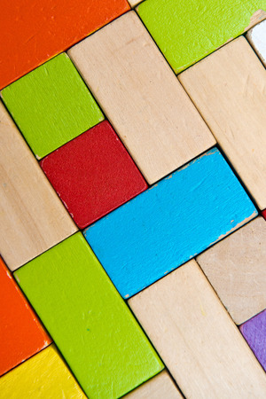 slantwise: some colored, wooden blocks creates a background