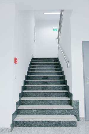 staircase - emergency exit in office building photo