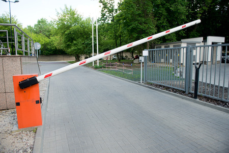 barrier: Vehicle security barrier - entrance to the car park Stock Photo
