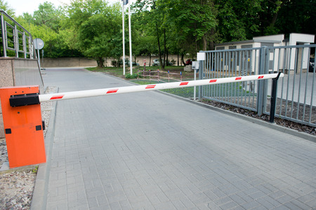 security barrier: Vehicle security barrier - entrance to the car park Stock Photo