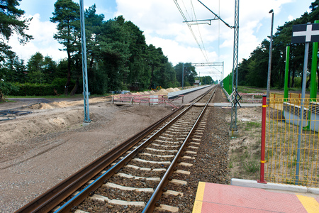earthwork: Railway tracks during construction - pedestrian crossing