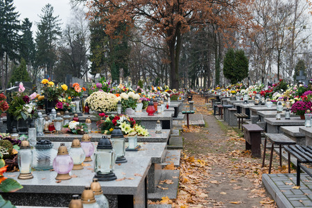 tumulus: Old cemetery in the Polish town Stock Photo
