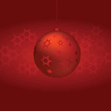 fondo rojo: Bola de Navidad sobre fondo rojo. vector Vectores