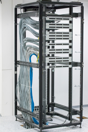 patch panel: cabinet with patch panel. empty slots RJ45