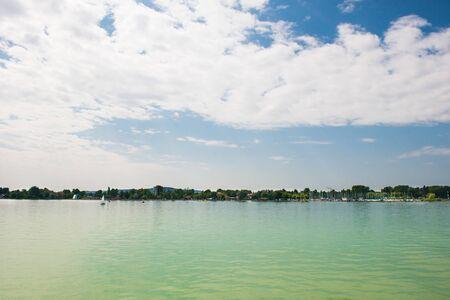 azure: landscape. azure water and blue sky Stock Photo