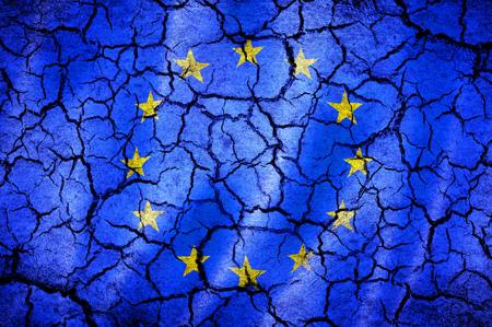 european union flag: european union flag on a cracked background Stock Photo