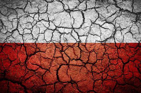 bandera de polonia: bandera polaca sobre un fondo agrietado