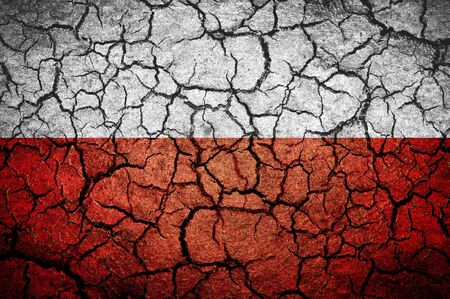 dissociation: Polish flag  on a cracked background