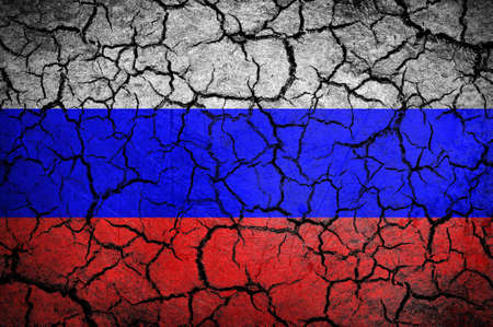 dissociation: Russian flag on a cracked background
