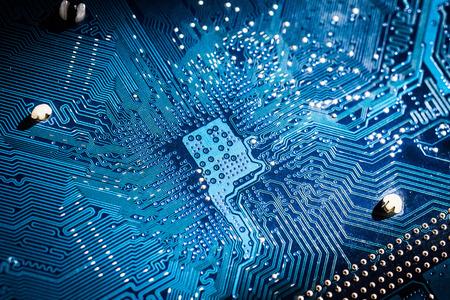 pcb: Electronic circuit board close up. blue PCB