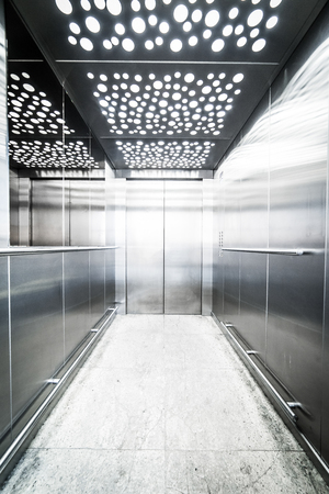 interior lighting: interior massive steel elevator - lighting led