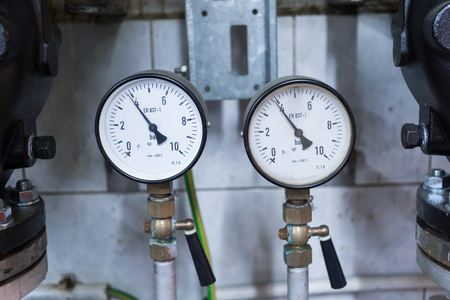two water pressure gauge. technical room