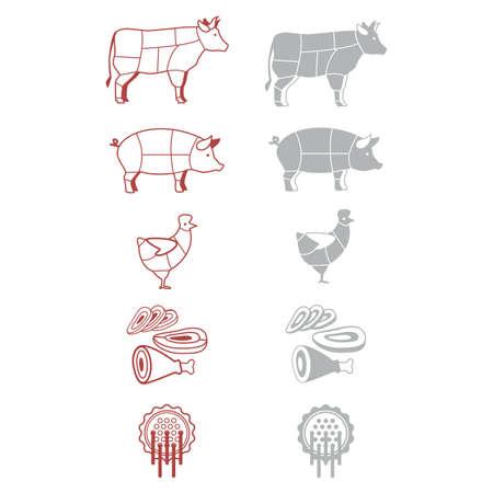 beef steak: iconos de signos para el supermercado de la denotaci�n de carne Vectores