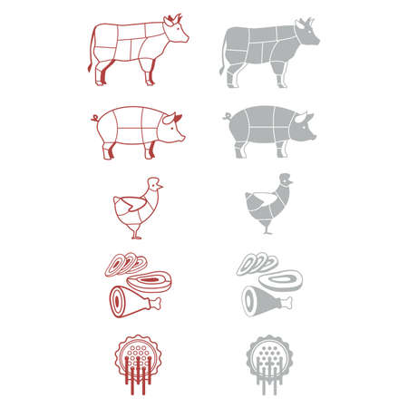beef meat: signs-icons for the grocery of denotation of meat
