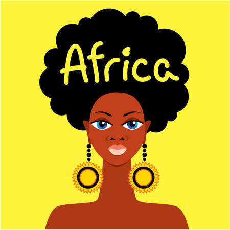 continente africano: Cara de madre Africana sobre un fondo amarillo