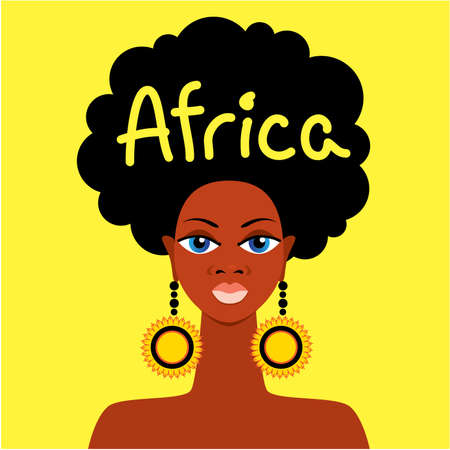 african woman face: Volto di madre africana su uno sfondo giallo Vettoriali