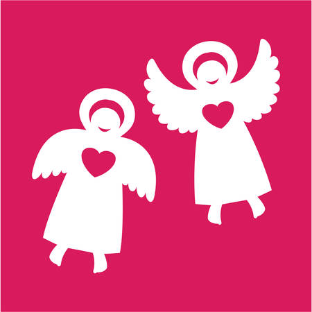 Two angels with hearts on a red background Stock Vector - 8977475