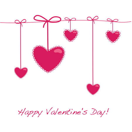 Card Layout for Valentine's Day - 5 hearts on a string Stock Vector - 8977560