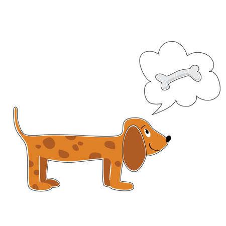 dog dreaming about bones Illustration