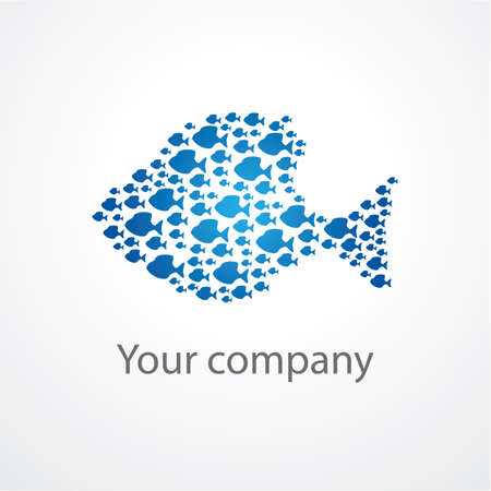 small fishes: symbol of the company - a flock of fishes Illustration