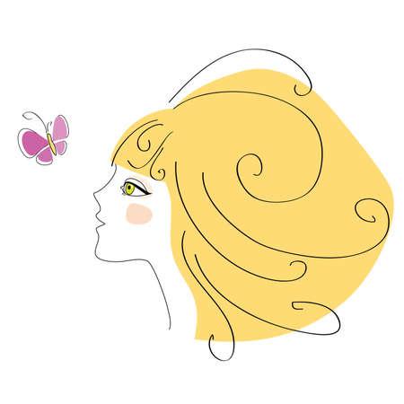 jeune fille blonde ressemble à un papillon