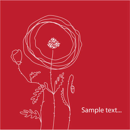 pencil symbol: template congratulations - Poppies on red background