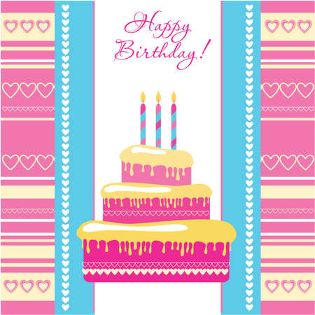 template - greeting card on birthday Vector