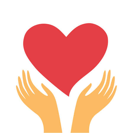 red heart in the hands of a white background Vector