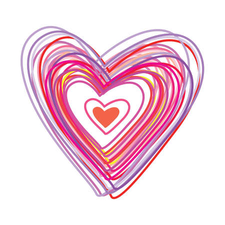 Heart of colored lines on a white background