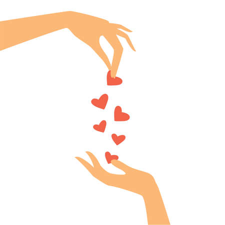 dos manos pasan entre sí corazón Ilustración de vector