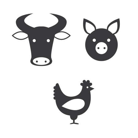 veal: a set of icons representing different kinds of meat