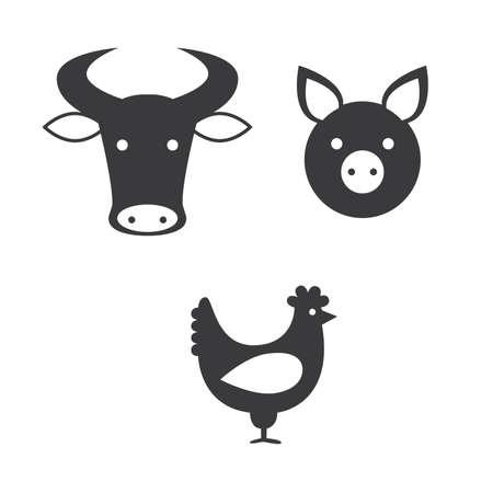 macellaio: un set di icone che rappresenta i diversi tipi di carne