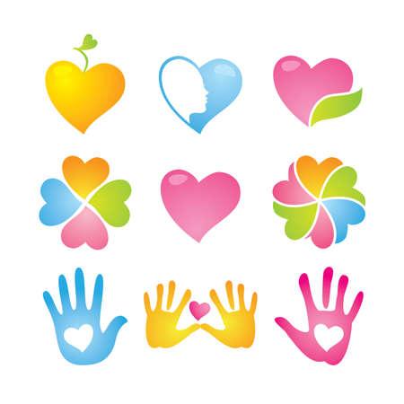 symbol hand: Icon Set - Liebe und Frieden Illustration