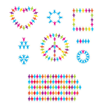 set of icons - people, team, peace, love, friendship Vector