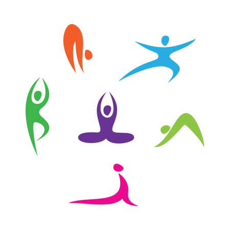 asana: set of icons - Yoga Illustration