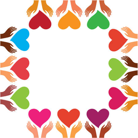 template for greetings Happy Valentine's Day - the hands of people the earth with hearts Stock Vector - 8977497
