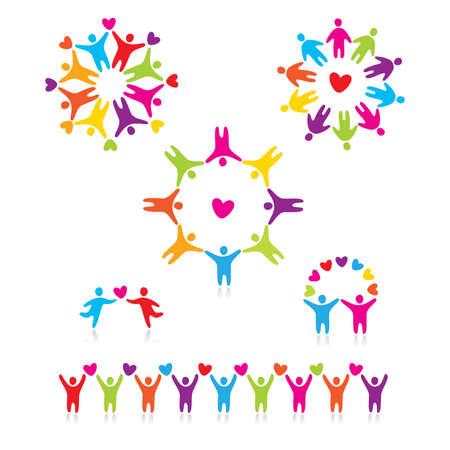 amistad: conjunto de iconos - amor conecta personas