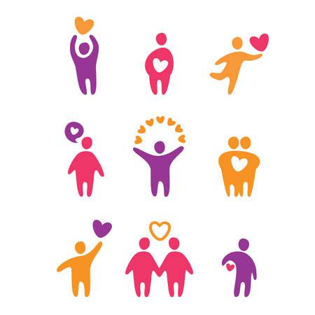 happiness: conjunto de iconos - amor